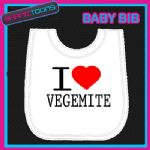 I LOVE HEART VEGEMITE WHITE BABY BIB EMBROIDERED